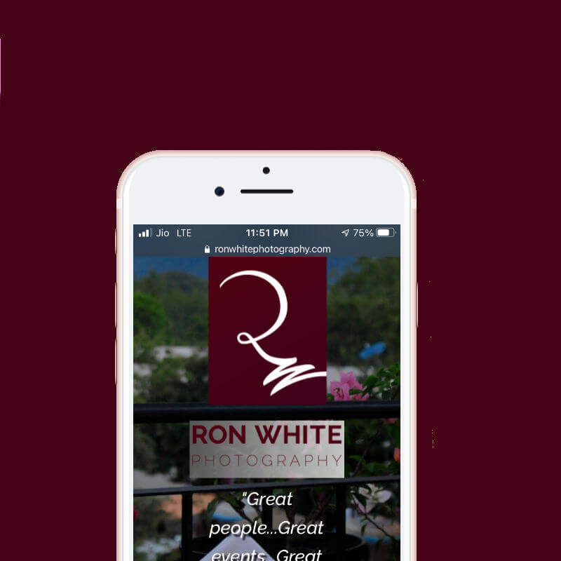 Ron White Photography website on mobile